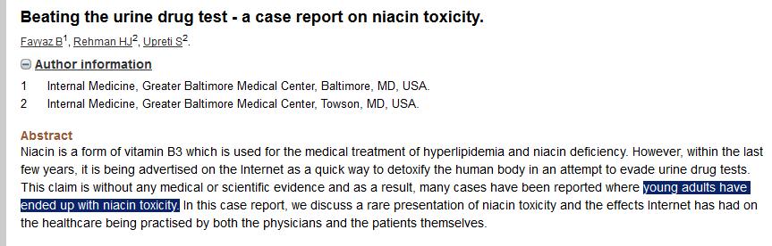 niacin drug test